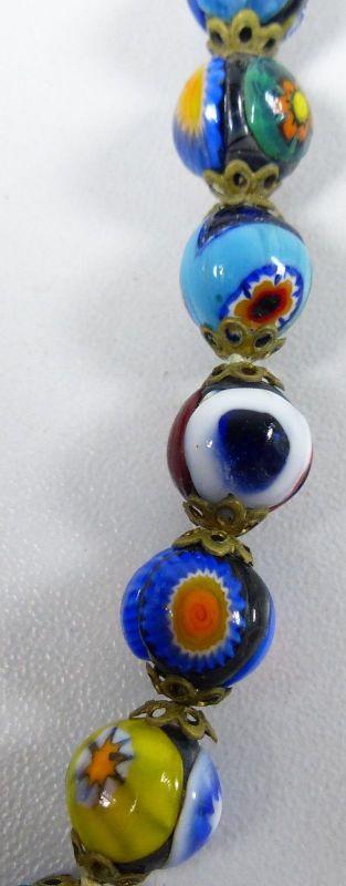 Kette aus sehr alten bunten Murano Glasperlen    (da5339) 1