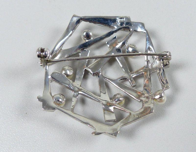 Wunderschöne Brosche aus 800 Silber mit Perlen und Markasiten um 1925   (da5335) 1