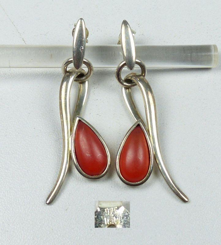Ohrringe/Stecker aus 925er Silber mit bernsteinfarbenen Steinen   (da4951) 0