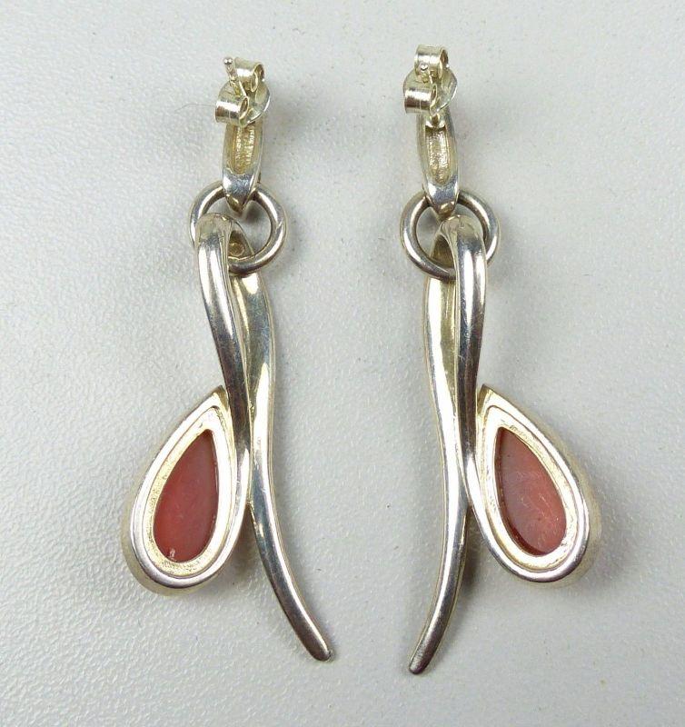 Ohrringe/Stecker aus 925er Silber mit bernsteinfarbenen Steinen   (da4951) 1