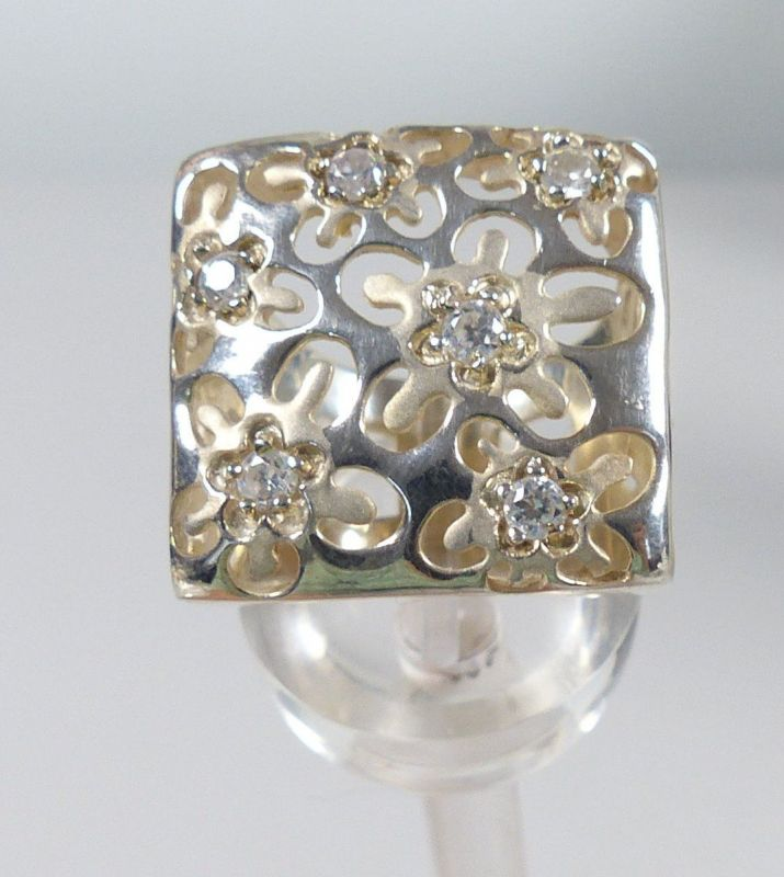 Ring aus 925er Silber mit Bergkristallen, Gr. 59/Ø 18,8 mm  (da5238) 0