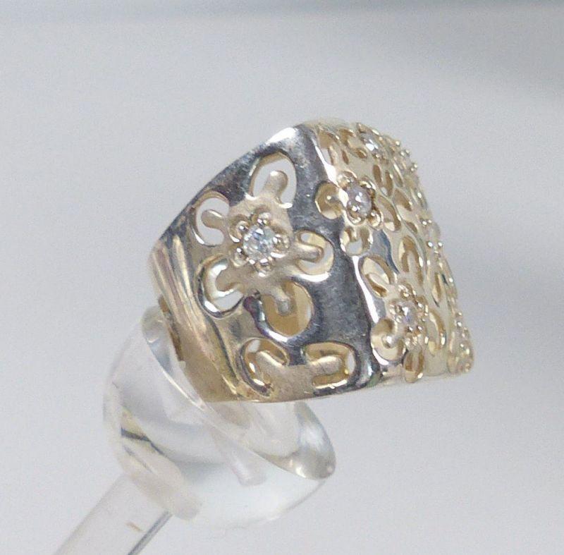 Ring aus 925er Silber mit Bergkristallen, Gr. 59/Ø 18,8 mm  (da5238) 1