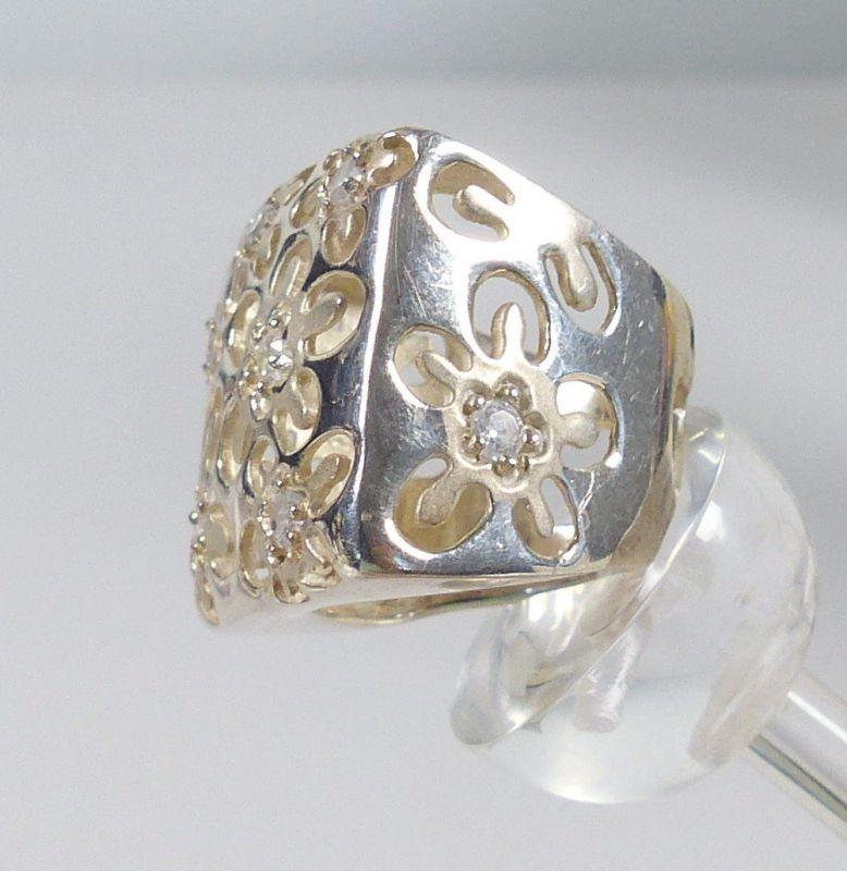 Ring aus 925er Silber mit Bergkristallen, Gr. 59/Ø 18,8 mm  (da5238) 2