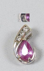Wunderschöner Anhänger aus 375 Weißgold mit Amethyst und Diamanten (da5369)