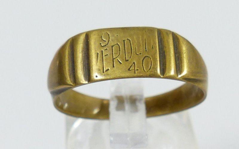 original alter Ring 1. WK aus franz. Münze, mit Gravur 9 Verdun 40  (da5355)