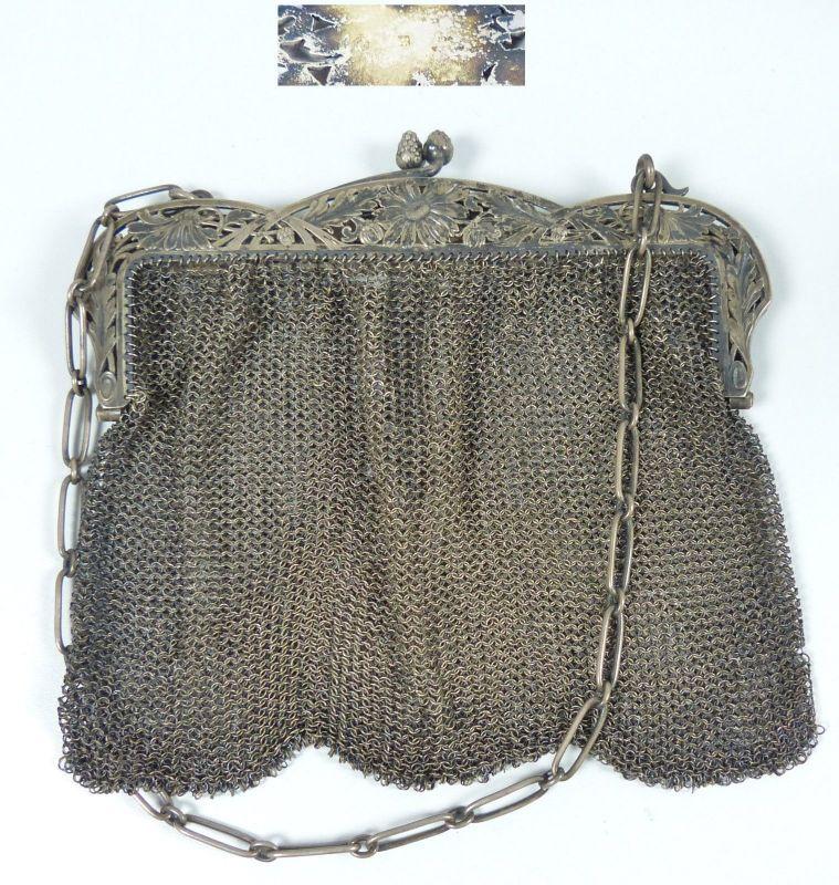 Alte Handtasche aus 800 Silber  (da5351)