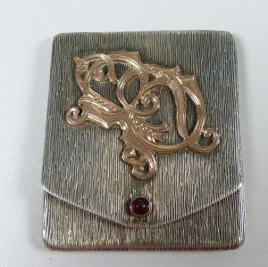 Streichholzheftchen/Streichholzhalter 900 Silber mit Monogramm aus Gold (da5304)