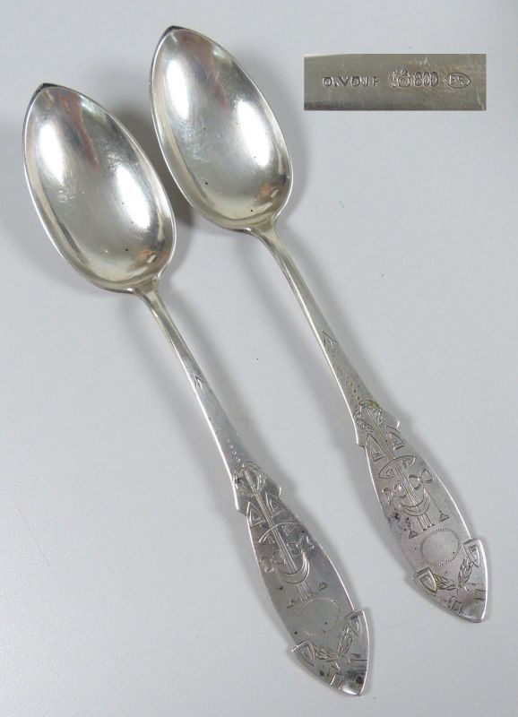 Gründerzeit 2 Löffel aus 800 Silber    (da5297)