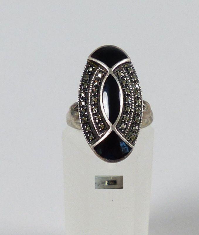 Art Déco Ring aus 925er Silber m. Onyx u. Markasiten Gr. 56/Ø 17,8 mm  (da4846)