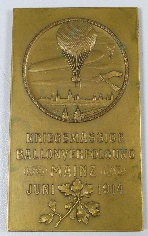 Bronzeplakette, Kriegsmässige Ballonverfolkgung Mainz Juni 1914, selten (da5269)