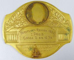 Autoplakette, Harzfahrt-Rennen 1923 Hamburger Automobil Club 1905 (da5268)