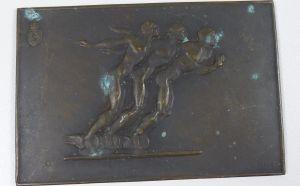 Ausgefallene Autoplakette aus Bronze mit Wappen, signiert A. Lange  (da5265)