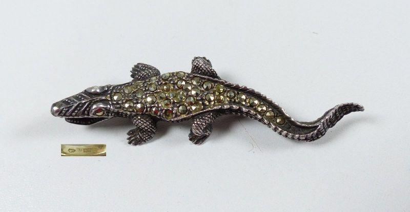 antike Krokodil-Brosche aus 835er Silber mit Markasiten    (da4824)