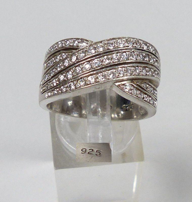 Ring aus 925er Silber mit weißen Steinen, Gr. 60/Ø 19,1 mm  (da5332)