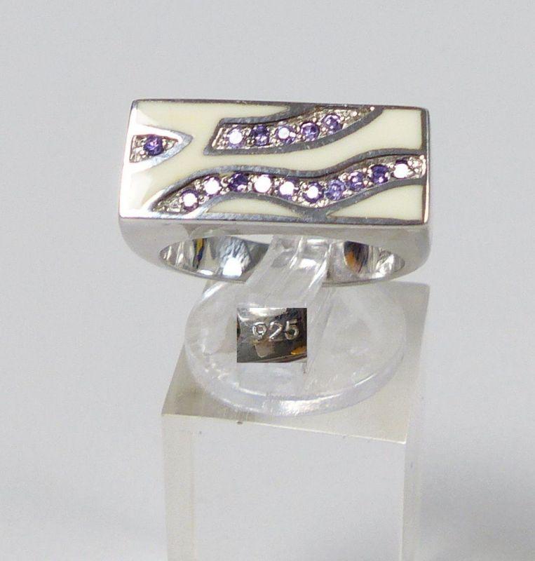Ring aus 925er Silber mit amethystfarbenen Steinen, Gr. 58/Ø 18,4 mm  (da5324)