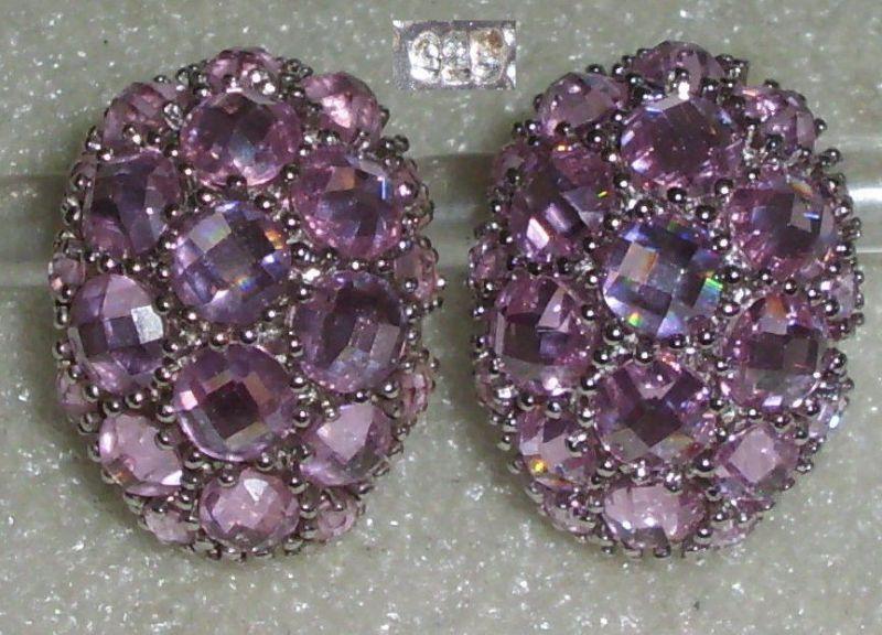 Ohrringe Stecker aus 925er Silber mit rosa Kristallen  (da3564)