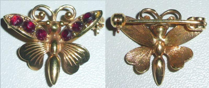 Brosche Schmetterling aus 333 Gold mit Granate