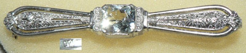 Art Déco Brosche aus 925er Silber mit Bergkristall (da4278)