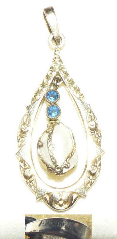 Anhänger American Doublé mit Perle und blauen Steinen (da4276)
