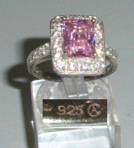 Ring aus 925 Silber mit Rosenquarz, Gr. 56, Ø 17,8 mm  (da4255)