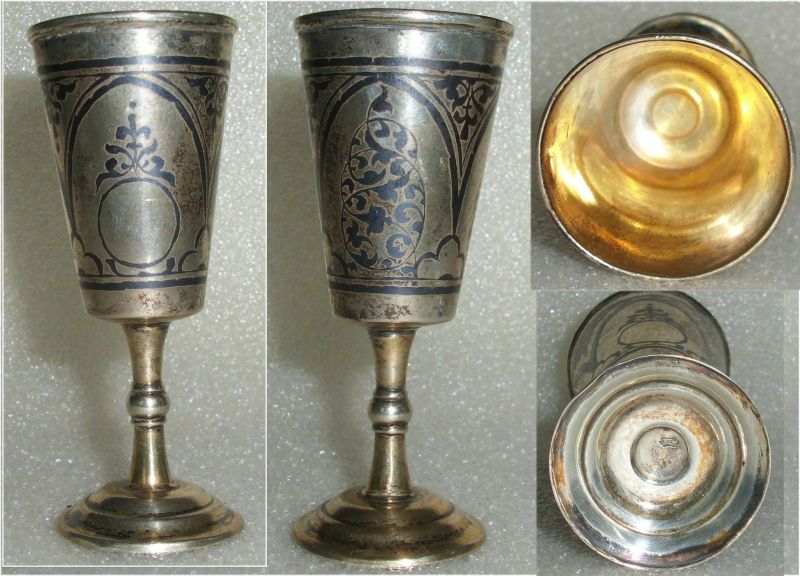 Toller alter russischer Wodka-Becher massiv Silber  (da3619)