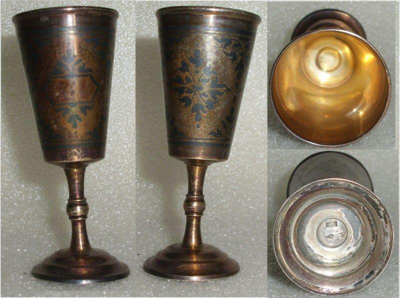 Toller alter russischer Wodka-Becher massiv Silber  (da3618)