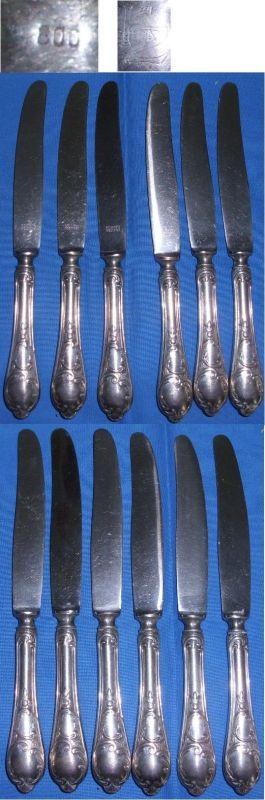 6 Gründerzeit Messer 800 Silber     (c5850)