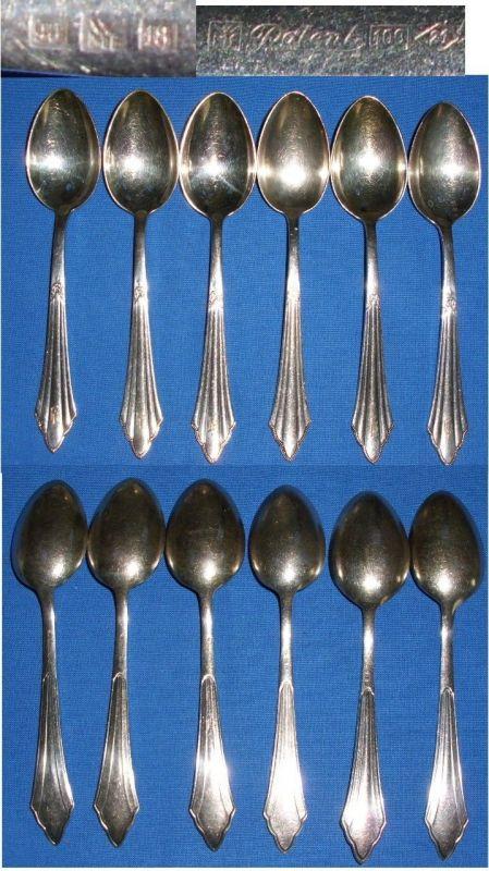 6 Kaffee-Löffel WMF Fächermuster 90-100 Silber Auflage     (c1828)