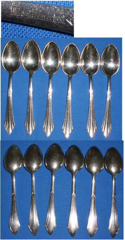 6 Kaffee-Löffel WMF Fächermuster 100 Silber-Auflage    (c1826)