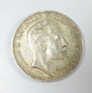 3 Mark Silber Wilhelm II. Preussen 1910 A  (da5466)