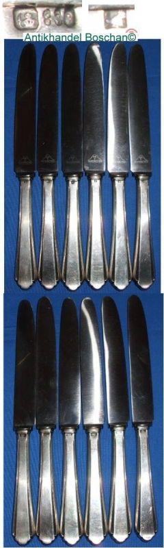 6 Messer 800 Silber Art-Déco     (d0694)