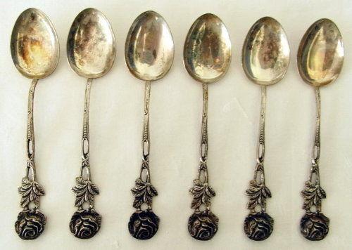 6 WMF Teelöffel in 800 Silber mit Hildesheimer Rose    (ja186)