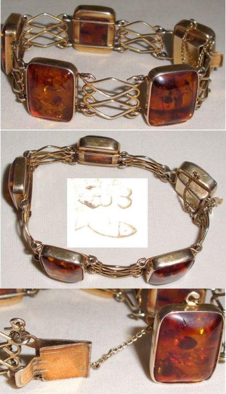 Tolles Armband 333 Gold Fischland m. Bernsteinen Amber