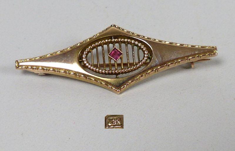 Jugendstil  Brosche333 Gold mit rotem Stein   (da5046)