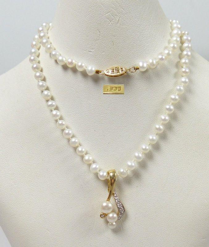 Wunderschöne Perlen-Kette m. Anhänger 585 Gold  (b8485)