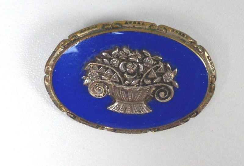 Sehr seltene  Biedermeier-Brosche m. blauem Emaille     (b8328)