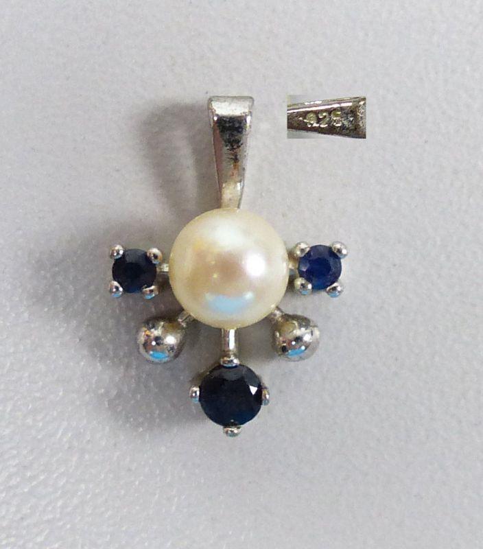 Anhänger 925 Silber mit Perle und 3 Saphiren                     (c4738)