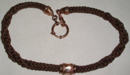 Alte Biedermeier Haarkette für Uhren  Uhrenkette     (c3460)