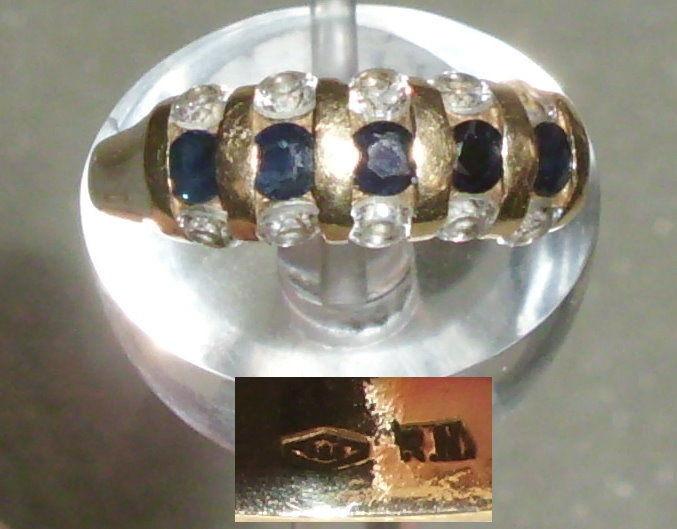 Ring aus 585er Gold mit Saphire und weißen Steinen, Gr. 56 Ø 17,8 mm (da3909)
