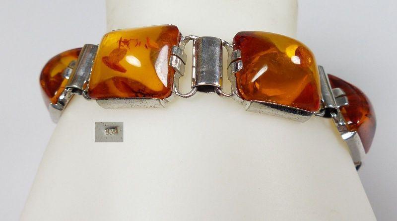 Armband aus 925 Silber mit Bernstein/Amber original alt   (da5475)