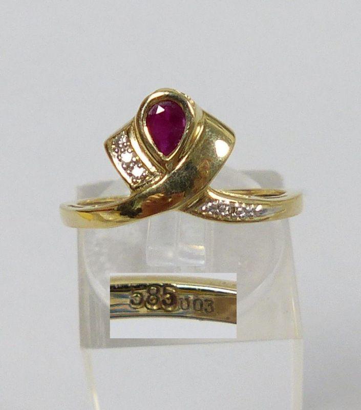 Ring 585 Gold mit Rubin und Brillantsplitter 0,03 ct.  Gr. 54   (c6518)