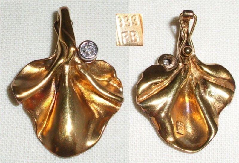 Anhänger für Perlenkette aus 333 Gold mit Diamant 0,05 ct.   (c6512)