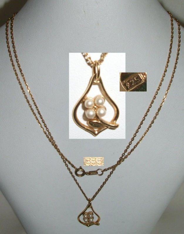 Kette 333 Gold m.  Perlen-Anhänger 925 Silber vergoldet     (c5756)