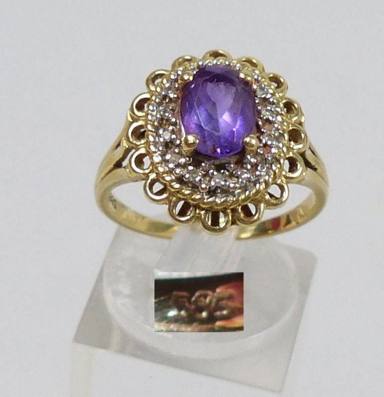Ring 585 Gold mit Amethyst und winzigen Brillanten besetzt Gr. 56   (c6912)