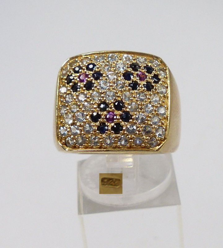 Ring 925 Silber vergoldet mit Zirkonia, Saphiren u. 3 Rubinen  Gr. 57  (c6902)