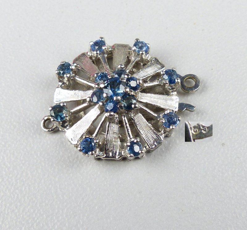 Kettenverschluß für Perlenketten aus 585er Weißgold mit Saphire (da4570)