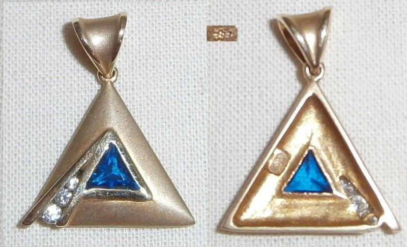 Anhänger 333 Gold  mit Saphir und Zirkone  (c8270)