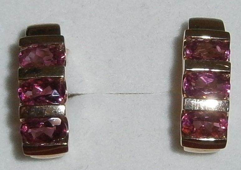 Ohrringe 375 Gold mit Spinelle Lilapink   (c8186)