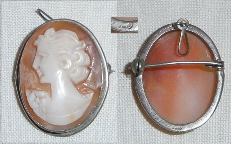 Wunderschöne alte Gemme in 800 Silber gefaßt als Brosche oder Anhänger  (c8138)