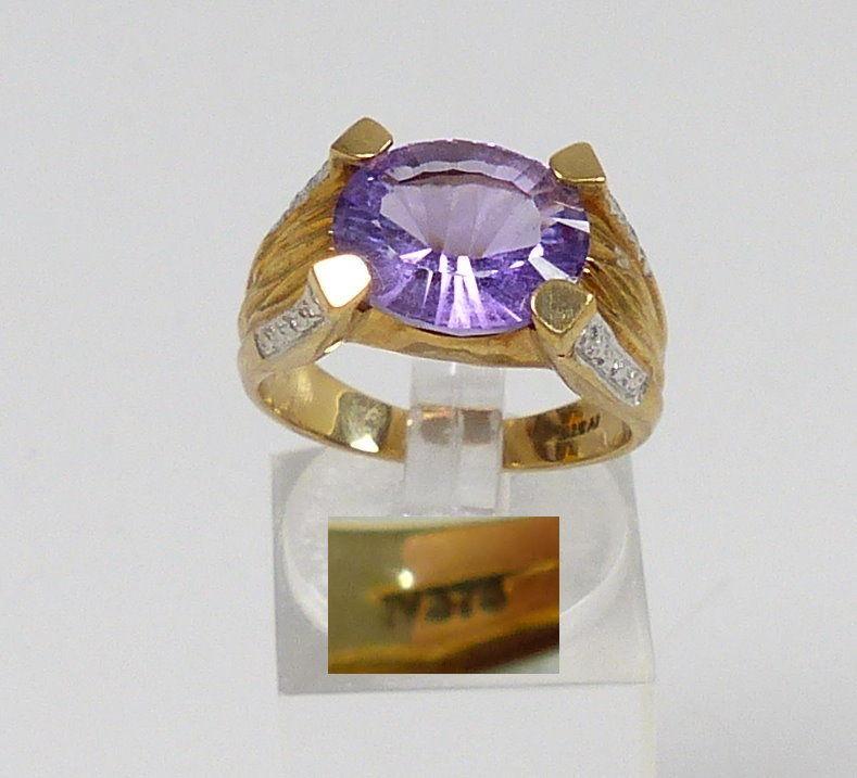 Ring 375 Gold mit Amethyst, Gr. 57  (c7554) 0